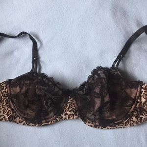 VS Cheetah Print w Black Unlined Demi 36DD